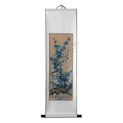 Oriental-Décor - Cherry Blossom in Teal - Cherry blossoms are pretty in pink, but they're even more terrific in teal. Enjoy teal cherry blossoms hand-painted on rice paper and matted on a silk scroll for a delicate accent piece with just the right amount of exotic elegance for your wall.