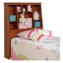 Prepac - Prepac Slant-Back Tall Twin Bookcase Headboard in Cherry - Prepac - Headboards - CSH4556 - This functional Slant-Back bookcase headboard offers a stylish way to stay organized. It is not only ideal for smaller rooms where finding storage space is difficult but it is a stylish addition to any bedroom. The slant-back design is unique and offers a look that will fit with most decor designs. The 8 differently sized organizing compartments provide lots of space for storing knick-knacks and personal items.