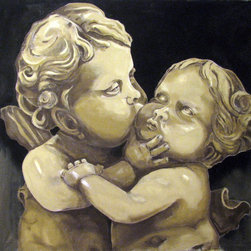 "The Kiss, Cherubs, Original Large Size Painting 58""x 58"". - ""The Kiss"" is an extra large canvas of 58""x58""."