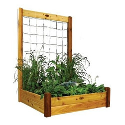 Gronomics 48L x 48W x 13H in. Raised Garden Bed with Trellis Kit - Give your green thumb some growing options this season with the Gronomics 48L x 48W x 13H in. Raised Garden Bed with Trellis Kit. This kit includes a raised bed and a trellis for versatile gardening. Each is made from cedar wood so they are naturally mold, weather, and insect resistant. The raised bed makes tending soil easy as it minimizes weed growth and doesn't need tilling or soil amending. Use the trellis to grow climbing plants or veggies. This kit is easy to assemble and is ideal for most any type of gardening plants or flowers.About GronomicsWith Gronomics, you no longer need a big yard to do your gardening. The Minnesota-based company manufactures unique, ergonomically designed 100% Western Red Cedar garden planters that offer tool-free assembly. Gronomics makes everything from elevated beds, raised beds, planter benches and much more, all of which are designed to make gardening easy and more accessible for all ages. Herbs, vegetables and flowers can all be tended to while standing or sitting and the company's unique designs even allows easy access for those in wheelchairs.