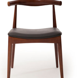"""Kardiel - Kardiel Wegner Elbow Dining Chair, Black Italian Leather/Ash Wood-Walnut Stain - The Kardiel reproduction of the CH20 Elbow chair is crafted entirely by hand. Using traditional joinery methods and being made of Solid Ash Hardwood, the chair construction is today as it was then.  The upholstery selected for the Kardiel reproduction is Genuine Italian Leather. The back features the signature flat """"bowtie"""" shape in the middle and forms a partial circle shape extending slightly toward the front of the chair at its ends. The seat platform is also made of wood then wrapped with multi-density low profile Dacron covered foam. This highly functional widely recognized chair is frequently used as an occasional seating chair, a dining chair and an office chair."""