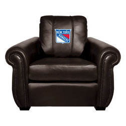 Dreamseat Inc. - New York Rangers NHL Chesapeake Black Leather Arm Chair - Check out this Awesome Arm Chair. It's the ultimate in traditional styled home leather furniture, and it's one of the coolest things we've ever seen. This is unbelievably comfortable - once you're in it, you won't want to get up. Features a zip-in-zip-out logo panel embroidered with 70,000 stitches. Converts from a solid color to custom-logo furniture in seconds - perfect for a shared or multi-purpose room. Root for several teams? Simply swap the panels out when the seasons change. This is a true statement piece that is perfect for your Man Cave, Game Room, basement or garage.