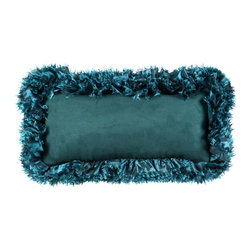 Brandi Renee Designs - Dark Teal Ruffle Lumbar Pillow - Searching for that standout accessory that will elevate your interior? Look no further, this gorgeous throw pillow is the decorative solution you've been searching for. Aqua shades reminiscent of clear blue waters, your space with have a serene, polished feel. The comfortable polyfill insert is elegantly clothed with smooth suede fabric and framed with a sapphire ruffle trim.