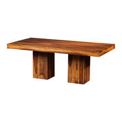 "Artemano - Anand Rectangular Dining Room Table Made of Rosewood, Light Brown, 80"" L X 40"" W - The Anand Rectangular Dining Table is a solid wood table that has a tasteful contemporary-meets-rustic design and a lot of presence. The rich blend of warm colours in the stunning Indian Rosewood, along with the chunky slabs of wood used throughout, makes this handcrafted table so luxurious and attractive."