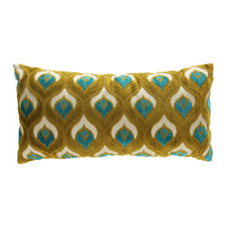 Brandi Renee Designs - Princess Grenoble Green and Blue Peacock Lumbar Pillow - You'll feel proud as a peacock, and love cuddling up to this fabulous cushion. The polyfill insert is super comfortable. Reminiscent of natural beauty, the cool shades of green and blue have an abstract element with vibrant energy. Ruffle some feathers with this colorful  accent piece!