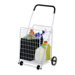 Honey Can Do - 4 Wheel Utility Cart - Steel construction, 4 heavy duty wheels,foam grip handle, folds flat for storage. 16.75 in. x 21.25 in. x 36.875 in.