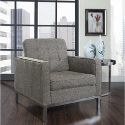 Florence Style Oatmeal Wool Loft Club Chair - The Wool Loft Arm Chair offers a stunning and luxurious look that will instantly enhance any space. This mid-century modern wool club chair is inspired by the designs of Florence Knoll 1954 lounge collection, and has a recognizable mid-century modern style. The simple style of the Loft lounge chair in wool upholstery makes for a clean, sharp look. Tufted accents create a beautiful pattern, and the couch's low profile makes the loft sofa an ideal item small space. Features a polished stainless steel frame, and high quality wool cushions that attach by velcro to the back.This item is a high quality reproduction of the original.