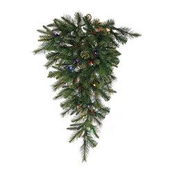 """Vickerman - Cashmere Teardrop 50Multi B/O Timer (36"""") - 36"""" Cashmere Pine Teardrop   120 PE/PVC Tips,  50 LED Italian 7-Color Multi Lights   B/O Timer"""