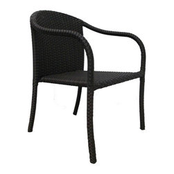 Source Outdoor - Circa Dining Chair - Color/Fnish: Espresso. Material: High Density Polyethylene Wicker. No Assembly required. Frame made with high quality powder coated aluminum to prevent rust and corrosion. Weave is made of High Density Polyethylene, which ensures the long lasting beauty of the furniture. Built to Hospitality grade and meant to be outside in the elements 24/7 . 22 in. L x 22 in. W x 31 in. H, (7 lbs). It is recommended that furniture not be stored upside down