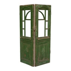 Set of Green French Doors- Red Rover Alley - This set of beautiful green doors are from France, still vibrant and full of character. These were originally $675.00.