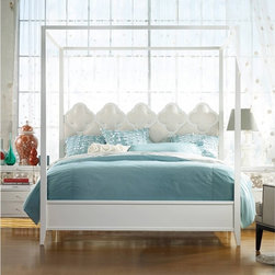Hooker Furniture - Melange Quatrefoil Poster Bed - Queen - Pretty and eclectic with a touch of whimsy, the Quatrefoil Canopy Bed combines an upholstered quatrefoil fretwork headboard with a brilliant bright white finish on the canopy, sides and footboard.