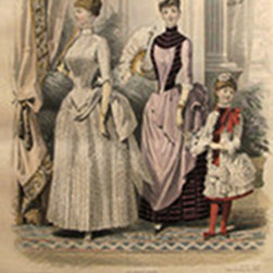 Consigned 1886 Moniteur de la Mode, Parisian Ladies Fashion - A vibrantly detailed, highly coloured chromolithograph from the Parisian subscription publication Le Moniteur de la Mode. Le Moniteur was a conglomeration of three women's fashion publications (La Gazette Rose Illustre, Le Bon Ton and L'Elegance Parisienne Reunis), that was popular during the 1880's and 1890's. Sheet measures approximately 10.25 x 14 inches.