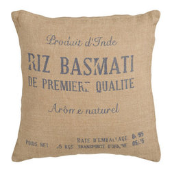 Surya Rugs - Sack Jute 22 x 22 Pillow - Broken text gives this pillow a weathered look. Colors of burlap and blue accent this decorative pillow. This pillow contains a poly fill and a zipper closure. Add this 22 x 22 pillow to your collection today.  - Includes one poly-fiber filled insert and one pillow cover.   - Pillow cover material: 100% Jute Surya Rugs - ST007-2222P