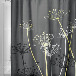 InterDesign - Gray & Yellow Thistle Shower Curtain - Breathe new life into your bathroom décor with this beautiful shower curtain, highlighted by a nature-inspired motif and easy-care polyester construction.   72'' W x 72'' H 100% polyester Machine wash Imported