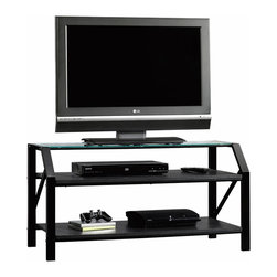 Sauder - Sauder Beginnings Panel TV Stand  in Black Finish - Sauder - TV Stands - 412754 -