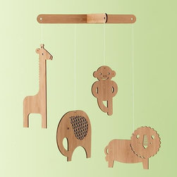 Jungle Bamboo Mobile - Made from sustainably harvested bamboo and earth-friendly renewable resources, this wooden jungle mobile is cute, green and a feast for baby eyes.