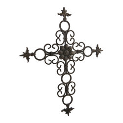 Zeckos - Ornate Metal Antique Bronze Finish Fleur De Lis Wall Cross - Add a decorative accent to your wall and the room with this metal wall cross featuring a decorative scrolling design and classic Fleur De Lis accents. It'll blend in with most decor with its hand-painted aged bronze finish, and easily hangs with a just a single nail or screw using the attached hanger on the back. Enjoy this wall cross above the bed in your bedroom, on the porch, patio or at your entryway. Measuring 13 inches (33 cm) high, 10.25 inches (26 cm) wide and 1/2 inch (1 cm) deep, it'll make a thoughtful housewarming gift sure to be admired