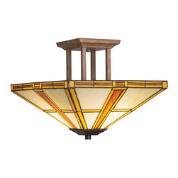 TIFFANY - TIFFANY Art Glass Tiffany Semi-Flush Mount Ceiling Light X-31096 - Clean lines are subtly softened by a Dore Bronze finish and complimented by the copper foil Tiffany art glass shade of this Kichler Lighting semi flush mount ceiling light from the Art Glass Collection.