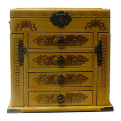"Golden Lotus - Chinese Yellow Flower Bird Mirror Jewelry Chest - Dimensions:   12.75""x  8.75""x  h12"""