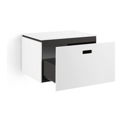WS Bath Collections - Ciacole Dark Grey Cabinet With Drawer - Ciacole 8060 Base Cabinet with One Drawer in Dark Grey Painted Aluminum and White Mattstone, Base Cabinet with One Drawer Designed for Use With a Vessel (Countertop) Bathroom Sink In Dark Grey Painted Aluminum and White Mattstone, Free Standing, Made in Italy