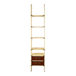 "Authentic Models - Authentic Models Library Ladder, Ivory - This is one of its kinds of a bookcase, Ivory Library Ladder, with two handy drawers at the bottom. The foldable set up has brass hinges is easy to install and collapse as and when require. With brass sleeves on all the sides; its flush inlaid brass hardware is strong and durable with a design that is built to last. The opulent bronze drawer handles look plush and regal besides being solid.        A perfect library solution for home & office   Interesting design with bookcase on ladder steps   Solid and sturdy wooden construction with brass hinges& ivory finish      Dimension: 17.7"" (L) X 19.7"" (W) X 96.5"" (H) Inches"