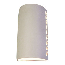 Clayworks Studio/Gallery - Halo Style Clay Sconce, Natural White, Open - This style combines a simple design with a dramatic halo effect.  It is handcrafted in Austin, Texas and is available in natural terra cotta or white clay.  Sconces are paintable so that you can customize them to your own color palette.