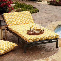 None - Alyssa Yellow Adjustable Outdoor Chaise with Corded Cushion - Add a beautiful addition to your outdoor space with a adjustable chaise lounge chair and yellow cushion. With its sturdy metal frame; plush mildew-, fade-, and stain-resistant cushion; and adjustable reclining back, this chaise boasts extreme comfort.