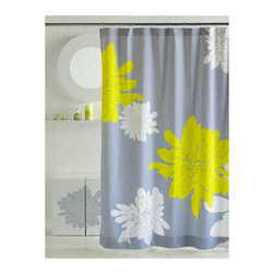 Shower Curtain HQ - Gray and yellow make such a great pairing in home decor! The neutral gray hue, plus the bright yellow equal an eye-popping style in this floral shower curtain. Sewn of silken cotton sateen, this bold print shower curtain is a luxurious touch for the bathroom with oversize flowers and stylish color palettes.