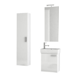 ACF - 18 Inch Glossy White Bathroom Vanity Set - Set Includes: Vanity Cabinet (1 Door), high-end fitted ceramic sink, wall mounted vanity mirror, tall storage cabinet.