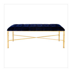 worlds away - Worlds Away Stella Navy and Gold Velvet Seat Bench - Worlds Away Stella Navy and Gold Velvet Seat Bench