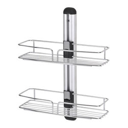 ORE International - Modern Bathroom Wall Mount w 2 Racks - This original modern and simple bathroom rack is designed to expand bathroom capacity, holding soaps, shampoo and other hygienic products. This model comes with two uniquely design racks with adjustable height for better organization and practicality . This sleek and attractive design is reinforced with stylish sturdy wall mounts, while the small and compact size made this item great for all showers. Made with durable and stainless steel chrome finished that never goes out of style. 12 in. W x 5 in. D x 15 in. H (2 lbs.)
