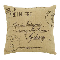 Benzara - Tan Pillow With Beautiful Paris Postcard Theme - Being one of the most fun places in all the world, it's good advice to always keep a little bit of Paris nearby inside your home. This pillow features graphics of hand written postcard address as well as old postage stamps for an authentic homage to postcard traveling. Build a set of several colors of brown or tan Parisian style pillows.