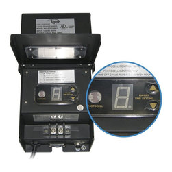 Alpine - 300 Watt Transformer with Timer and Photocell - Alpine offers a wide selection of transformers with photo cells and timers. Our selection includes 300 Watts. This can make it simple for anyone to run many lights directly to one transformer! The best part is that you can use any of our lighting fixtures or underwater and above water lights which will need a transformer. Our unique photo cell and timers will activate when it gets dark. Adjustable timer of 4, 6, or 8 hours which work with the photo cell! Do not exceed the wattage of the transformer in any combination.Features: