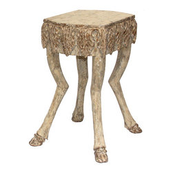 "Stag Leg Accent Table - 21""H - Bringing the traditional motif of animal-paw furniture feet into today's transitional home, the Stag Leg Accent Table features realistically carved deer legs in a weathered cream finish with aged bronze accents - a perfect combination for your eclectic lodge or traditional gentleman's bedroom. An apron of carved acanthus leaves surrounding the occasional table's roughly square top conveys a classical formality to this enchanting and unusual furniture piece."