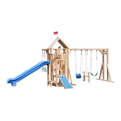 CedarWorks - CedarWorks Frolic 5 Swingset - CedarWorks Frolic 5 wooden swing set is made from chemical-free, splinter-free Northern White Cedar for which CedarWorks is famous. With countless play features, this backyard playset includes a Scoop Slide, Yardarm, Triple Trapeze, Telescope, Cedar Slide, Helping Handles (2), and Swings including a Toddler Swing, Horse Swing, and Poly Swing.