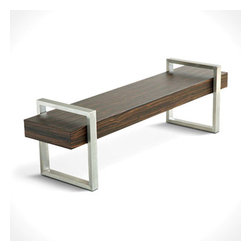 Gus* - Return Bench - Return Bench  by Gus Modern   At A Glance:   The Return Bench prominently features an exotic wood veneered beam that will immediately arrest the attention of your guests. The beam floats between stainless steel return legs with leveling glides,and easily doubles as a coffee table or occasional seating.  What's To Like:  The entryway is one of the most neglected areas of many homes, but with the Return Bench's striking good looks, any entryway will look complete.Wood veneer is applied to engineered wood substrate, which prevents warping and maintains structural integrity over time.  What's Not to Like:   This bench has corners. If you or someone you live with is prone to bumping into things, the Return Bench may end up to be a painful acquisition. If not, go ahead and get it and enjoy!  The Bottom Line:   The Return Bench by Gus Modern is the modern equivalent of the Nelson Platform Bench - it features