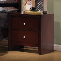Coaster - Serenity Night Stand - Cut-out designed headboard offers a unique contemporary style. Sleek lines and beautiful details give this set a modern feel. Drawers are constructed with english dovetails and smooth metal on metal drawer glides. Crafted from select hardwoods and veneers in a rich merlot finish.