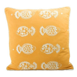 Pisces Pillow - These pillows embroidered with charming and exotic fish come in several gorgeous colors - pink for a bit more girly room, a lovely light lime green, or a more traditional blue. However, this sunny saffron seems to go with the cheerful fish the best!