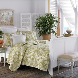 Tommy Bahama - Tommy Bahama Plantation Floral 3-piece Quilt Set - Bring a tropical look to your bedroom with this Tommy Bahama floral three-piece quilt set. Featuring a lime-green-and-white print,this quilt with coordinating pillow shams brings a light,airy feel to your bed. The cotton fabric ensures extra comfort.