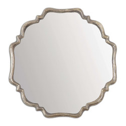 Uttermost - Valentia Silver Mirror - This shapely mirror features a frame with a plated, oxidized silver finish and a rust gray wash.