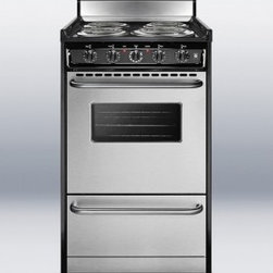 """Summit - Professional Series TEM130BKWY 20"""" Freestanding Electric Range with 4 Burners  2 - The TEM130BKWY electric range has a slim width of just 20 to fit into space conscious kitchens Stainless steel doors dress the deep oven with solid towel bar handles adding a modern touch to the exterior A stainless steel toe plate and black porcelai..."""