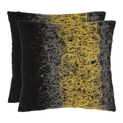 Safavieh - Swirls 18-inch Black/Yellow Decorative Pillows (Set of 2) - Give your sofa, chair, or bed a modern look with these patterned decorative pillows. This set of two 18-inch-square accent pillows features a black background with a gray and bright-yellow swirl design that will add a burst of color to any decor.