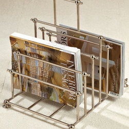 Nickel File Organizer/ Caddy - Complete an inspiring work area or conveniently display a selection of your interests with the Nickel File Organizer and Caddy, a magazine-rack design with an architectural cascade of geometric forms finished in polished metal.  Great for shared workspaces and striking living rooms alike, this organizer features ball corners and a higher carrying handle that enhances the design.