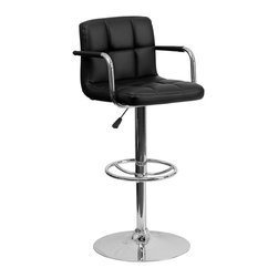 Flash Furniture - Flash Furniture Barstools Residential Barstools X-GG-KB-920201-HC - This sleek dual purpose stool easily adjusts from counter to bar height. The simple design allows it to seamlessly accent any area in the home. Not only is this stool stylish, but very comfortable to provide you with an amazing sitting experience! The easy to clean vinyl upholstery is an added bonus when stool is used regularly. The height adjustable swivel seat adjusts from counter to bar height with the handle located below the seat. The chrome footrest supports your feet while also providing a contemporary chic design. [CH-102029-BK-GG]