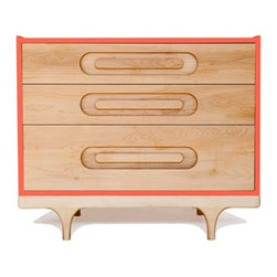 Kalon Studios - Kalon Studios Caravan Dresser in Blue, Red - The Caravan Dresser is available in six bright, contemporary colors. Integrated drawer pulls give the piece a dynamic, clean look.  Made with the highest quality FSC-Certified domestic solid maple and birch panels. Finished with GreenGuard certified 100% non-toxic, low VOC, HAPs free paint and our own natural wood oil.    3 Drawer Dresser