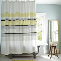 Gallery Stripe Shower Curtain, Citron - I'm going to base my guest bath around this shower curtain. The gray and citron is a great color combination.