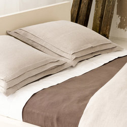 Pine Cone Hill - PCH Pleated Linen Natural Pillow Sham - The Pleated Linen pillow sham is at once casual and divine, with an exquisite 3-tiered pleat. Create a beautiful modern bed with this soft and perfectly simple accent from PCH. Available in standard and euro sizes; 100% linen; Natural; Envelope closure; Pillow insert not included; Designed by Pine Cone Hill, an Annie Selke company; Machine wash cold, tumble dry low; Do not bleach