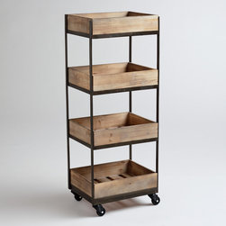 4-shelf Wooden Gavin Rolling Cart - This is one seriously affordable rolling shelf. I love that it can move from room to room if necessary.