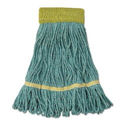UNISAN - UNISAN Mop Head, Super Loop Head, Cotton/Synthetic Fiber, Small, Green - Premium-quality, four-ply cotton/synthetic yarn mop head for high-volume use. Absorbs up to seven times its own weight. Heavy-duty, 5 vinyl headbands. Launder in mesh bag. Use with clamp- or spring grip-style handles (sold separately).
