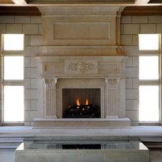 Large Jeruselem Limestone Fireplace Mantel